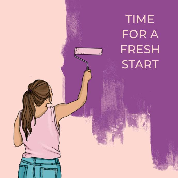 Digitale Illustration einer Frau, die eine Wand lila streicht