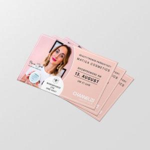 rosa Flyerdesign für eine Fernsehshow