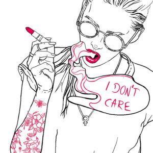 Digitale Illustration von einer Frau mit rotem Lippenstift