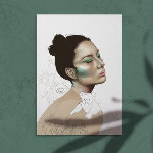 Digitale Portraitillustration: Save our Nature