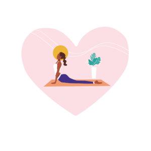 Vektorgrafik mit Frau auf Yogamatte